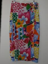 Jams World Wrap Skirt Women L Utopia Rayon Hawaiian Floral Sundress Pink Blue