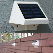 White Garden Wall Outdoor Pathway Solar Power 4 Fence LED Light Panel Cold Lamp