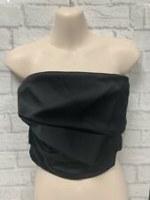 Coast Black Satin Ruched Bandeau Top Brand New With Tags