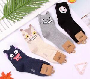 Studio Ghibli Totoro Jiji Cat Bus No Face Socks Cartoon - UK Seller
