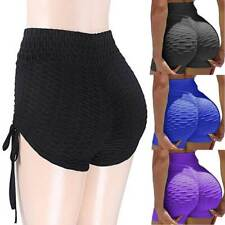 Womens Anti-Cellulite Yoga Pants Leggings Push Up Ruched Shorts Gym Trousers G8