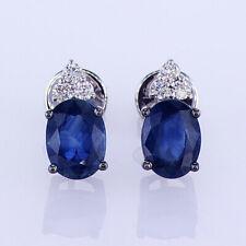 3.60CTW Diamond & Sapphire Stud Earrings 18K White Gold 018465