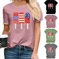 Women America Flag Patriotic Popsicle Blouse Letters Casual Tee Top T-Shirt
