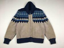 VTG Hand Knit Geometric Mary Maxim Cowichan Curling Wool Sweater Full Zip Sz S