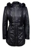 SYLVIA Ladies Black Classic Mid Length Fur Collar 100 % Real Leather Jacket Coat