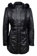 SYLVIA Ladies Black Classic Mid Length Fur Collar 100 % Real Leather Jacket Coat