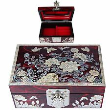 Antique Jewelry box Mother of Pearl Jewelry Organizer  Women Gift 1009Red