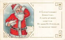 Christmas Postcard Santa Claus Scratching His Head Reading Letters~125643
