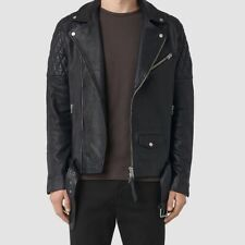 AllSaints Boyson Leather Moto Jacket In Black, Size Medium