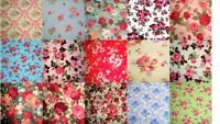 Shabby Chic Pink Blue Red Green Vintage Rose Floral 100% Pure Cotton Fabric
