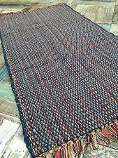 💜THICK COTTON FLAT WEAVE INDIAN CHINDI RAG RUG BLUE CREAM 75cm x 135cm