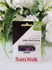 SanDisk Elevate Cruzer Glide USB 2.0 Flash Drive Pen Drive 64GB Memory Stick