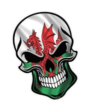 GOTHIC Biker SKULL & Welsh Dragon Wales CYMRU Flag vinyl car bike sticker Decal