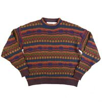 Vtg Crossings Sweater Men's XL Multicolor Pullover Crew Neck Cosby USA Made 90's