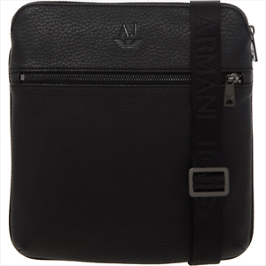 Armani Jeans Mens Messenger Cross Body Bag Black Logo Shoulder Tablet Pouch