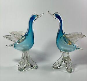"C1950s AVEM Vetreria Artistica Muranese Murano Italy Glass Pair of Birds 10"" T"