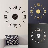 Ee _ Bricolaje 3D Espejo Superficie Número Colgante de Pared Reloj Pegatina
