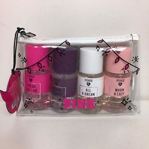 Victorias Secret PINK 5 Piece Set Spritz Body Mist & Cosmetic Bag Fresh Clean