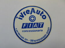 VECCHIO ADESIVO AUTO / Old Sticker CONCESSIONARIA FIAT IVREA (cm 9,5)