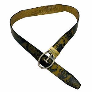 Guess Size M Black Gold Snake Skin Belt Rhinestones Grunge Faux Vegan Leather