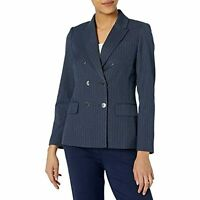 $149 Tahari ASL Double Breasted Blazer with Patch Pockets Navy White Pinstripe 6