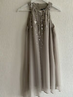 PALE GREY SEQUIN DRESS FLOATY LIPSY 12 PARTY PRETTY TOWIE BOHO CLUB HOLIDAY GLAM