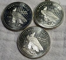 LOT OF THREE WORLD WIDE MINT AMERICAN EAGLE 1981 SILVER ROUNDS .999 ONE TROY OZ