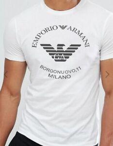 Emporio Armani Borgonuovo'11 White T-shirt Chest Logo Size M L XL Slim fit