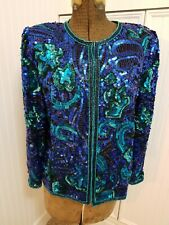 Lawrence Kazar Sequin Evening Jacket M Peacock Blue Green Beaded Pattern NC