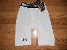 "*Nwt Men's Small Under Armour HeatGear Compression Shorts 10"" white 1236240"