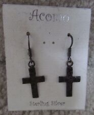 Sterling Silver .925 Acomo Cross Earrings New $28