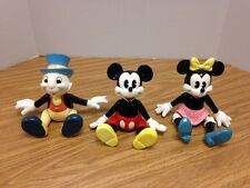 SCHMID 3 Disney Mickey Minnie Mouse Jiminy Cricket Music Box Figurines Jointed