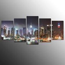 FRAMED Canvas Art Prints City Night Wall Art Canvas Painting For Home Decor-5pcs