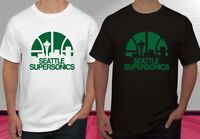 SEATTLE SUPERSONICS LOGO Black And White  Men's T-shirt S-2XL