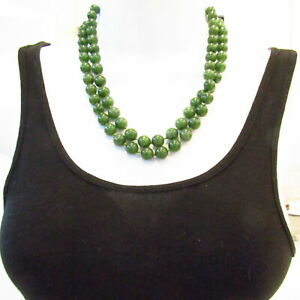 "Vintage Nephrite Jade Bead Necklace Hand Knotted 126 Grams 10mm 40"" Inches"