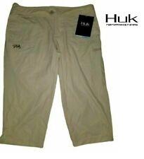 Women's Huk Next Level Light Khaki Tan Capri Shorts Sz M (8) New NWT