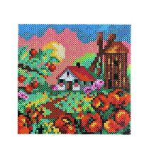 Handmade Hama Bead Picture Countryside House by Windmill Wall Home Decor GIFT