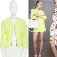 runway GIAMBATTISTA VALLI 2014 neon yellow zip front collarless tweed jacket XS