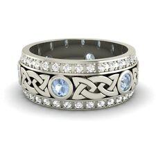 Certified Aquamarine & G/Si Diamond 14k White Gold Celtic Mens Wedding Band Ring