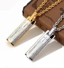 Bible Text Pendant High Polish Lord's Prayer Stainless Steel Box Chain Necklace