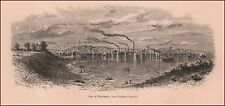 PROVIDENCE, RHODE ISLAND, city view, antique engraving, print 1872