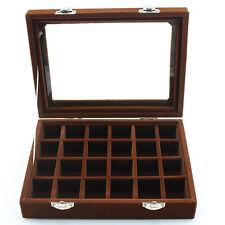 24 Slots Velvet Glass Jewelry Ring Display Organizer Bracelet Tray Storage Case Coffee