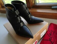 $1095 Christian Louboutin TRINIBOOT 85 Leather Ankle Booties Black 37