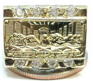 GOLD mens Ring ultima cena Last Supper simulated diamond 10k 10 ask 8 9 11 12