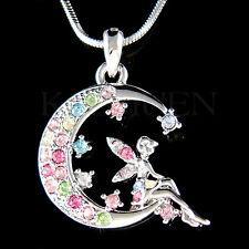 w Swarovski Crystal Rainbow Tinkerbell Tinker Bell ANGEL Fairy MOON Necklace New