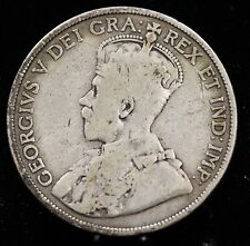 1913 Canada Silver Fifty Cents 50 Cent Coin Canadian Half Dollar