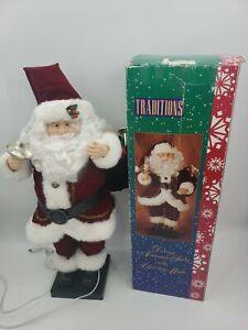 """Traditions 29"""" Deluxe Animated Santa Christmas Music Lighted Candle Toy Bag Box"""