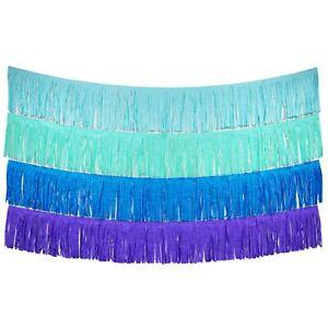 Mermaid Fringe Tassel Banners 8 Feet x 14 in Blue Party Decoration Garland