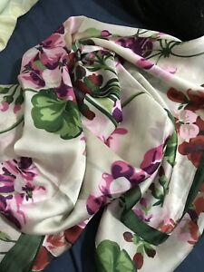 Authentic Gucci Silk Green Floral Scarf