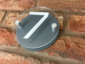 House Number Sign Plaque Modern Contemporary Grey Clear Acrylic Round